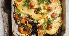 This delicious bake is a like a vegetarian lasagne, without the pasta. It's rich, creamy and low in fat!
