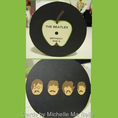 Fab 4 Beatles Birthday Card all images hand designed and hand cut Top Image: front of card Bottom Image: inside left of card Cards by Michelle Ma Belle