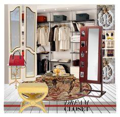 """DREAM CLOSET"" by nicolevalents ❤ liked on Polyvore featuring interior, interiors, interior design, home, home decor, interior decorating, Oggi, Bernhardt, Dot & Bo and Safavieh"
