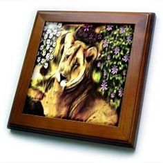 "African Lion Amongst The Flowers - 8x8 Framed Tile by SmudgeArt. $22.99. Dimensions: 8"" H x 8"" W x 1/2"" D. Keyhole in the back of frame allows for easy hanging.. Solid wood frame. Cherry Finish. Inset high gloss 6"" x 6"" ceramic tile.. African Lion Amongst The Flowers Framed Tile is 8"" x 8"" with a 6"" x 6"" high gloss inset ceramic tile, surrounded by a solid wood frame with predrilled keyhole for easy wall mounting.. Save 15% Off!"