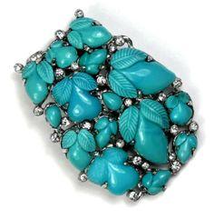Very RARE 1930s Art Deco KTF Trifari Turquoise Fruit Salad Dress Clip NR | eBay