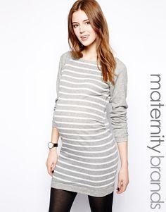 Mama.licious | Mamalicious Gray Stripe Dress at ASOS