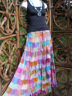 15 tiered rainbow gypsy broomstick skirt ML by LamplightGifts, $35.00