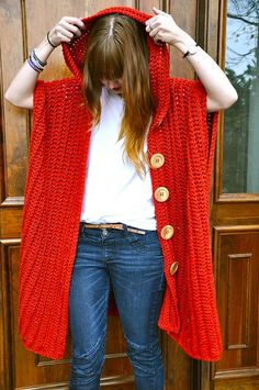 I felt like wearing some crochet RED today in honor of World AIDS Day! Here's an outfit idea for wearing your Hooded Poncho! Mens Shirt: Thrifted Skirt: Poncho: Pattern available HERE, made with Bernat Alpaca Natural Blends in Cherry Crochet Poncho Patterns, Crochet Jacket, Crochet Cardigan, Crochet Scarves, Crochet Shawl, Crochet Clothes, Crochet Sweaters, Crochet Edgings, Freeform Crochet