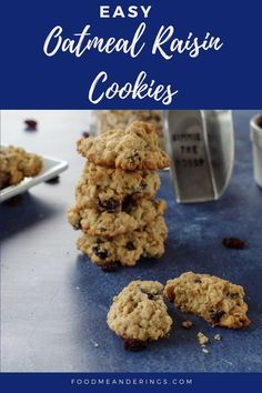 This Easy Oatmeal Raisin cookie recipe is a drop cookie made with quick oats. They are fast to make and so simple you won't believe how incredibly delicious they taste! They make a great snack or lunchbox dessert! Delicious Cookie Recipes, Snack Recipes, Dessert Recipes, Snacks, Baking Recipes, Vegetarian Recipes, Desserts, Jam Cookies, Yummy Cookies