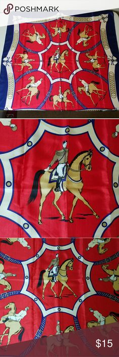 Day At The Races Silk Scarf This scarf is so unique and it is huge! Measuring about 34 in X 34 in, it features 9 figures on horseback. Flowers dot the border and horseshoe style designs can be seen in the separation of the some of the horses. Perfect condition. Accessories Scarves & Wraps