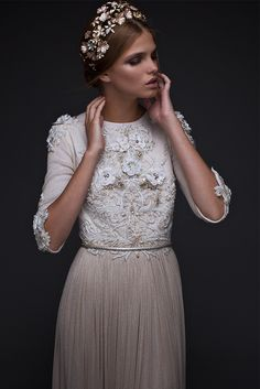 Modest wedding dress. Shimmer net skirt, embroidered flower top, metallic rope belt