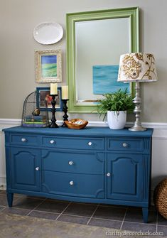 Furniture Paint Colors: Annie Sloan Chalk Paint in Aubusson Blue gave this cabinet a much needed color boost and brightened the foyer.
