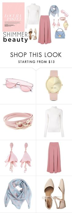 """Simple outfit (pastel)"" by krnas on Polyvore featuring Nine West, Salvatore Ferragamo, Irene, Oscar de la Renta, TIBI, Alexander McQueen, Gap, Mark Cross, outfit and simple"