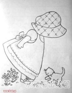 Diseños Redwork y Sunbonnet Sue Crochet Doily Patterns, Applique Patterns, Applique Quilts, Quilt Patterns, Crochet Doilies, Paper Embroidery, Embroidery Applique, Embroidery Stitches, Embroidery Designs