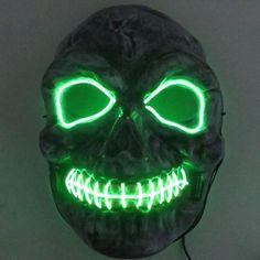 Skull Skeleton Scary LED Mask Night Cold Light Half Face Luminous Party Masks