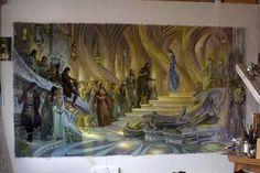 Rodika Boari ~ The Silmarillion et al FB ~ work in progress by Donato Giancola ~ Beren and Luthien in the court of Elu Thingol ~