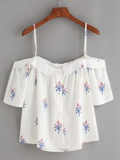 White Fold Over Cold Shoulder Flower Print Top Mobile Site Spring Outfits, Girl Outfits, Casual Outfits, Fashion Outfits, Dressy Tops, Cute Fashion, Teen Fashion, Pretty Outfits, Cute Outfits