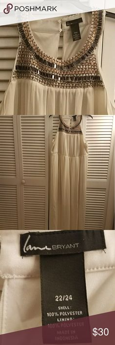 Lane Bryant sheer maxi dress 22/24 Beautiful off white maxi dress made by Lane Bryant. This dress has beautiful details along the neckline  and was only worn once.  Shell: 100% Polyester Lining: 100% Polyester   Made in Indonesia Lane Bryant Dresses Maxi