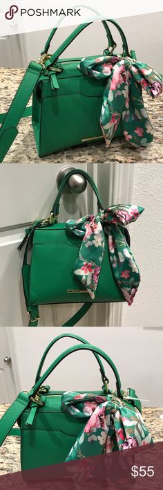 NEW Steve Madden Green Crossbody Bag New with tag. Height: 8 inches. Width: 9 inches. Depth: 4 inches. Comes with green floral scarf and removable adjustable shoulder strap. Get this now for a steal!  Sorry, no trades. Reasonable offers are welcome! Steve Madden Bags Crossbody Bags