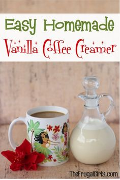 Easy Homemade Vanilla Coffee Creamer Recipe! ~ from TheFrugalGirls.com - just 3 ingredients and SO delicious! #recipes #creamers #thefrugalgirls