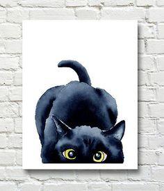 Watercolor Cat, Watercolor Paintings, Cat Paintings, Painting Art, Black Cat Painting, Black Cat Drawing, Cat Art Print, Wall Art Prints, Canvas Art