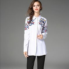 Buy Now (Fresh Lapel Flower Embroidery Loose Blouse) from Sheetag - http://www.sheetag.com/product/fresh-lapel-flower-embroidery-loose-blouse/