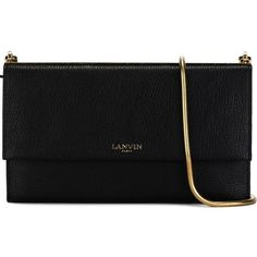 LANVIN Classic Clutch ($985) ❤ liked on Polyvore featuring bags, handbags, clutches, purses, chain handle handbags, lanvin purse, lanvin handbag, chain strap purse and black purse