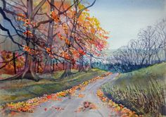 """Autumn in Troutsdale"" - original watercolour by Glenn Marshall Affordable Art, Watercolour, Thankful, Autumn, The Originals, Twitter, Painting, Beautiful, Pen And Wash"