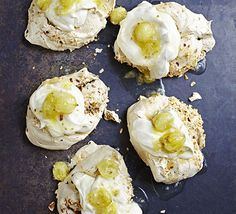 Crisp hazelnut meringues with whipped cream and gooseberry compote make the perfect gluten-free summer dessert