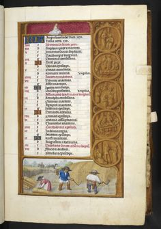 Add_ms_35313_f005r Calendar page for August, with decorative border comprising a Zodiac sign, roundels, and bas-de-page scene, from the London Rothschild Hours, Southern Netherlands (?Ghent), c. 1500, Add MS 35313, f. 5r  - See more at: http://britishlibrary.typepad.co.uk/digitisedmanuscripts/2015/08/a-calendar-page-for-august-2015.html#sthash.sHrkrAin.dpuf