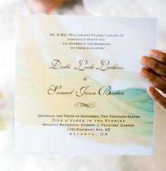 mint + canary wedding invitation ♥