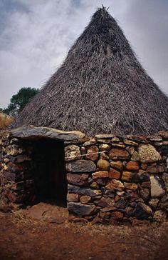 Traditional Pinedda (shepherd's hut) on the Altopiano della Giara, Cagliari.