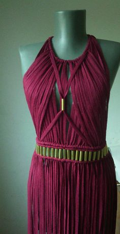 Macrame Red Dress Festival Dress Bicini Cover up Macrame