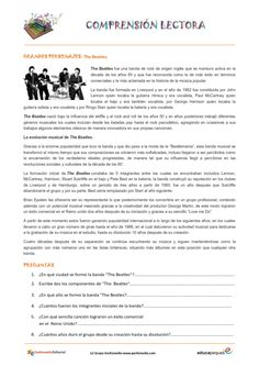Fichas de compresión lectora: Historia de The-Beatles