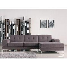 L Shape Gray Fabric Sectional Sofa - 1015.0000