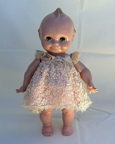 jointed kewpie doll with moving green eyes party girl