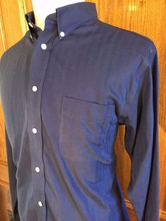 Roundtree Yorke Mens Dress Shirt Gold Label Size XL Slim Fit Dark Blue #RoundtreeYorke