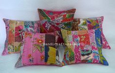 Multicolor Kantha Cushion Cover Floral Lot of 5 Pillow Case Patchwork Throw #Handmade