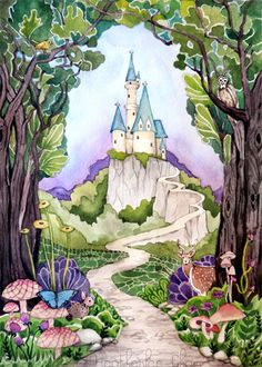 Enchanted Castle Backdrop Photo Challenge Castle - We Offer Our Photography Backdrops In Many Material Options With Thousands Of Styles To Choose From Read Below For More Details On Each Of The Materials We Offer Enchanted Castle Backdrop Castle Drawing, Castle Painting, Castle Illustration, Illustration Noel, Fantasy Magic, Fantasy Art, Watercolor Print, Watercolor Paintings, Painting Art