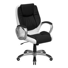 devrik home office desk chair 1. Lancaster Home Mid-Back Black And White Leather Executive Swivel Office Chair (Black, Devrik Desk 1