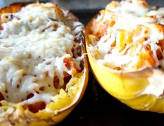 The noodle like texture of spaghetti squash makes this dish a great alternative for pasta. Stuff your boat with your favorite veggies, meats and cheeses!