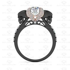 Show details for 'Ailes de L'amour' 1.80ct White Diamond Black Sterling Silver Engagement Ring