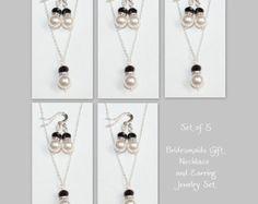 Hot Pink Jewelry Set Personalized Bridesmaid by alexandreasjewels