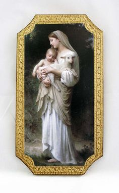 "Innocence by Bouguereau Madonna and Child with lamb florentine wooden plaque. Hand painted in Italy. Measures at 5"" x 9"" tall."