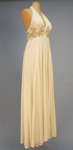 Alfred Bosand beaded empire halter gown, 1970.