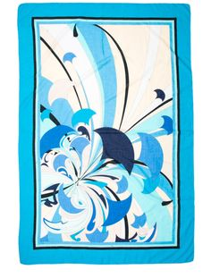 """Emilio Pucci Scarf, Sheer navy, aqua, black and white print scarf with aqua border. Condition: Excellent. Measurements: Length 61"""", Width 40"""" Fabric Content: Not listed, feels like silk. Designer: Emilio Pucci. $125.00"""