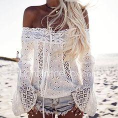 Mujer Simple Casual/Diario Verano Camiseta,Escote Barco Un Color Manga Larga Algodón Medio 2017 - $14.99