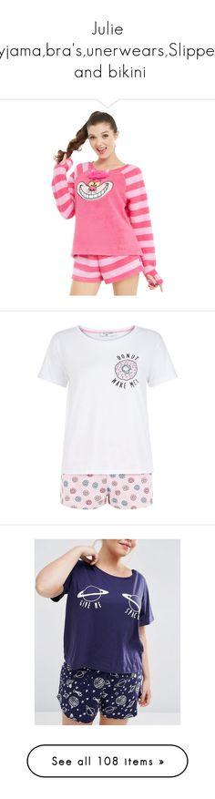 """Julie pyjama,bra's,unerwears,Slippers  and bikini"" by psycho-alien-deer05 ❤ liked on Polyvore featuring intimates, sleepwear, pajamas, pyjama, pink pattern, short sleeve pajamas, short sleeve pajama set, pink pjs, pink sleepwear and pink pajamas"