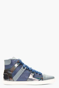 Lanvin Blue Snakeskin Paneled High-top Sneakers on shopstyle.com.au