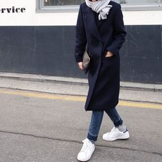 #beauty #style #fashion #woman #clothes #outfit #wearable #casual #look #winter #fall #autumn #navy #long #coat #gray #scarf #jeans #white #stan #smith #adidas #trainers