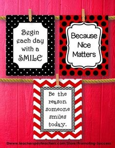 Classroom Decor in Red and Black - Set of 3 Printable Posters - Great Quality for LARGE Posters #posters #printables