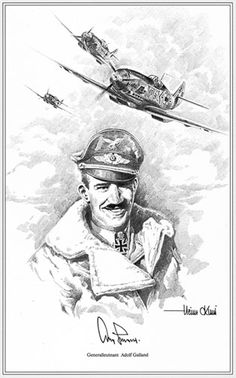 Portrait of Adolf Galland by Heinz Krebs. Ww2 Aircraft, Fighter Aircraft, Military Aircraft, Luftwaffe, Adolf Galland, Air Fighter, Fighter Pilot, Military Art, Military History