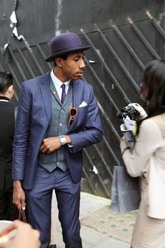 London Collections: Men Street Style - The Jigsaw Blog, Gentleman wearing blue suit and bowler hat