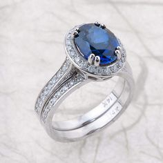 Etsy Blue Sapphire Oval Bridal Set / Lab Grown Sapphire Bridal Set / Halo Engagement Ring with Matching B